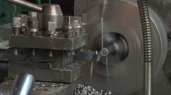 Working of the lathe in the workshop Stock Footage