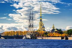 St Petersburg, Russia. Sailing ship anchored by the Peter and Paul Fortress. Stock Photos