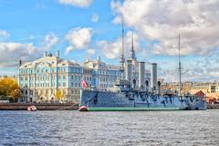 Aurora Cruiser, St Petersburg, Russia - stock photo
