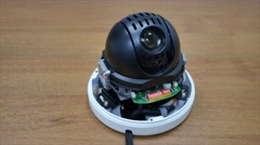 Dome PTZ camera disassembled Stock Footage