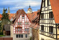 Traditional red tile roofs and half-timbered houses in Rothenburg ob der Taub Stock Photos