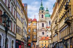 Historical baroque buildings in the center of Prague, Czech Republic - stock photo