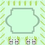 Cartoon frame - bamboo & three little pandas illustration Stock Illustration