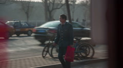 Beijing sunny cold day traffic street life china Stock Footage
