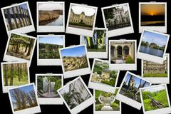 Mosaic collage mix travel with pictures Stock Illustration