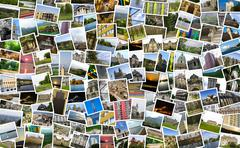 Asymmetrical mosaic mix collage of 200+ photos Stock Photos