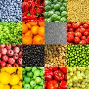 Mix collage of 16 in 1 food background Stock Photos