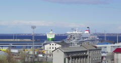 Arriving and departing passenger ships in the port Stock Footage