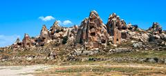 Stock Photo of Ancient cave town in Cappadocia, famous tourist destination in central Turkey