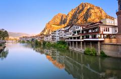 Stock Photo of Traditional ottoman half timbered houses in Amasya, Turkey