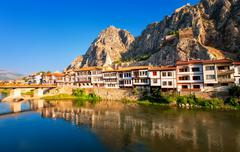 Stock Photo of Traditional ottoman houses reflecting in the river, Amasya, Turkey