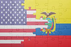 Stock Photo of puzzle with the national flag of united states of america and ecuador