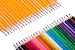 Color pencils background. close up of pencil color Stock Photos