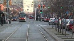 Toronto public transit new and old streetcars on spadina avenue Stock Footage