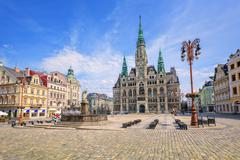The town hall and the central square in Liberec, Czech Republic Stock Photos