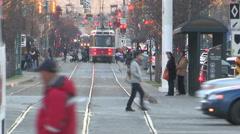 Toronto public transit new and old streetcars on spadina avenue - stock footage
