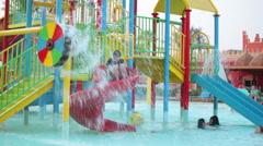 Children aquapark is on the hotel area. The Alf Leila Wa Leila spa, Egypt - stock footage