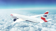 Boeing 777 passenger aircraft flying high above the skies. (British Airways) - stock footage