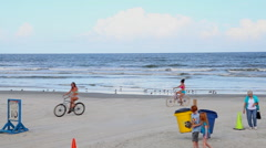 New Smyrna Beach Florida Beach with cars driving on it and speed limit signs Stock Footage