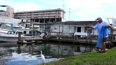 Fisherman cast netting in New Smyrna Beach Florida in marina Stock Footage