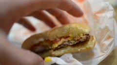 Stock Video Footage of Eating a fast food - cheeseburger, potato, tomato