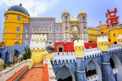 Colorful facade of Pena palace, Sintra, Portugal Stock Photos