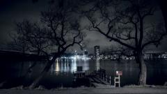 Night bridge, scary stockholm city Stock Footage