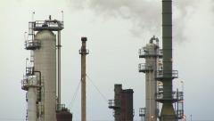 Oil Refinery Fire Flare and Distillation Towers Stock Footage