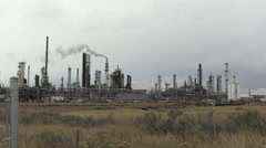 Oil Refinery - Cloudy, Windy Day - stock footage