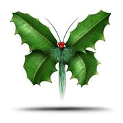 Magical Holiday Holly Butterfly - stock illustration