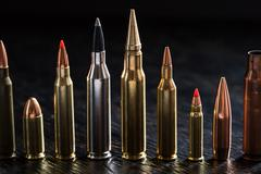 Number of large-caliber ammunition Stock Photos