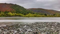 Salekhard fall season river bay panorama 4k time lapse russia Stock Footage