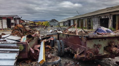 Salekhard industrial trash building panorama 4k time lapse russia Stock Footage