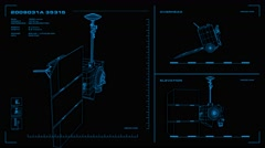 Looping, orthographic view of rotating wireframe model of LRO spacecraft Stock Footage