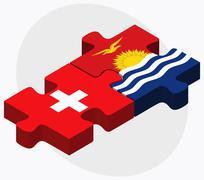 Switzerland and Kiribati Flags Stock Illustration