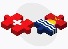 Switzerland and Kiribati Flags - stock illustration