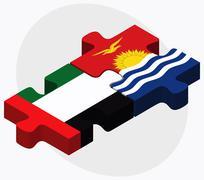 United Arab Emirates and Kiribati Flags - stock illustration