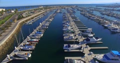 4K, Aerial  View of Yacht Club and Marina in San Pedro, Los Angeles, California Stock Footage