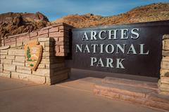Arches National Park entrance sign - stock photo