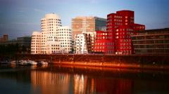 4K UHD Düsseldorf Dusseldorf Duesseldorf Mediahafen Rhine river canal Bridge Stock Footage