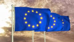 Three flags of European Union waving in the wind (4K) Stock Footage