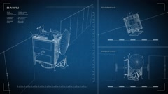 Looping, animated orthographic engineering blueprint of Dawn spacecraft Stock Footage
