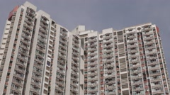 Blocks of flats in dense populated area of Kowloon. 4K resolution. Hong Kong Stock Footage