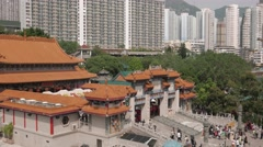 Visitors entering Wong Tai Sin Temple in Hong Kong. 4K resolution - stock footage