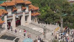 Visitors entering Wong Tai Sin Temple in Hong Kong. 4K resolution Stock Footage