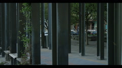 Yorkville exterior architecture, poles dirtying frame Stock Footage