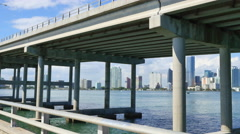 Brickell behing the Rickenbacker Causeway Stock Footage