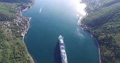 Aerial view of cruise ship in the Bay of Kotor Stock Footage