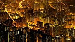Hong Kong night aerial view. 4K resolution time lapse. Stock Footage
