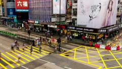 HONG KONG - Traffic and people on crosswalk in Kowloon. Time lapse - stock footage